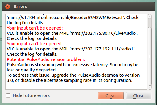 VLC error dialog showing a PulseAudio version problem